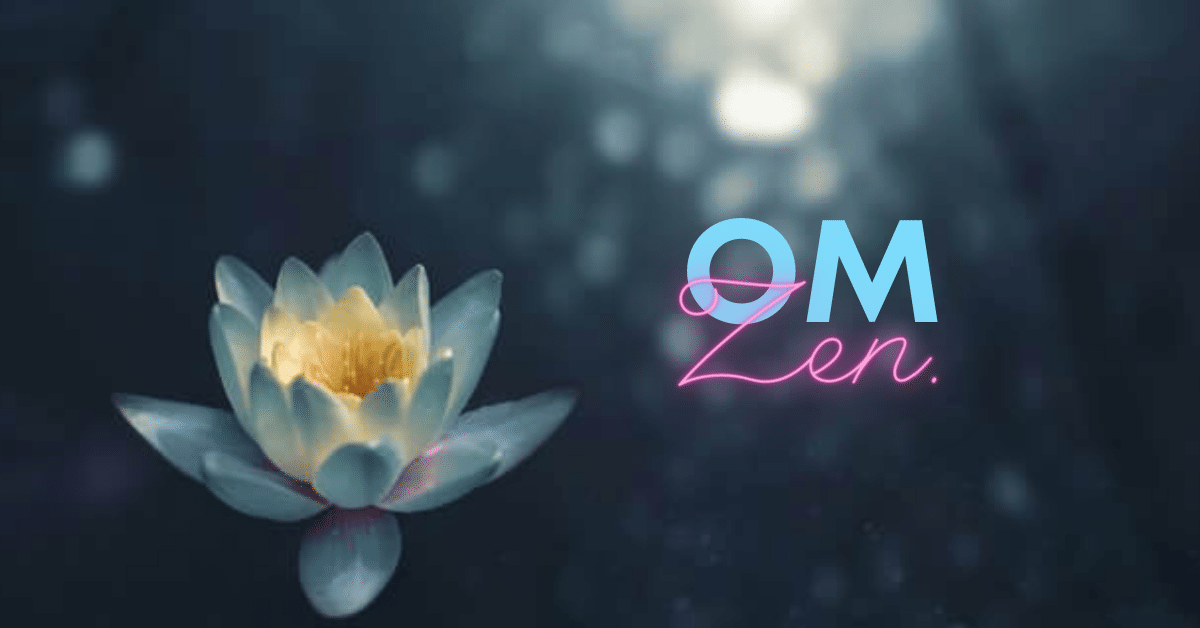a lotus flower foating on the surface of the water. Om Yoga.
